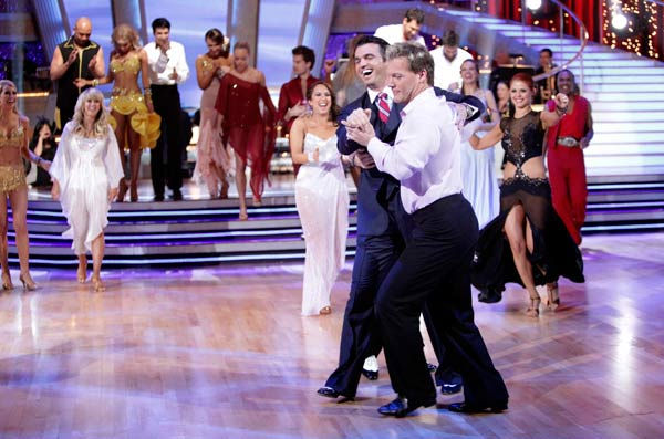 Chris Jericho and Tony Dovolani  dance after the 'Dancing With The Stars' elimination on Tuesday, April 5, 2011.