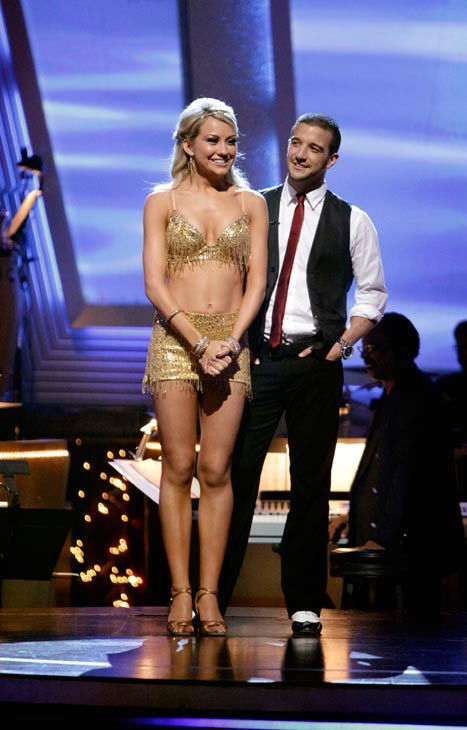 "<div class=""meta ""><span class=""caption-text "">Chelsea Kane and her partner Mark Ballas await possible elimination. The couple received 23 out of 30 from the judges for their Rumba on week three of 'Dancing With The Stars' on Monday, April 4, 2011.  (ABC Photo/ Adam Taylor)</span></div>"