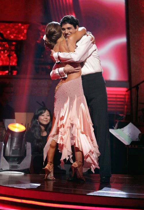 Ralph Macchio and his partner Karina Smirnoff react to being safe from elimination. The couple received 21 out of 30 from the judges for their Rumba on week three of &#39;Dancing With The Stars&#39; on Monday, April 4, 2011.  <span class=meta>(ABC Photo&#47; Adam Taylor)</span>