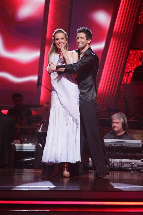 Petra Nemcova and her partner Dmitry Chaplin react to being safe from elimination. The couple received 25 out of 30 from the judges for their Rumba on week three of 'Dancing With The Stars' on Monday, April 4, 2011.