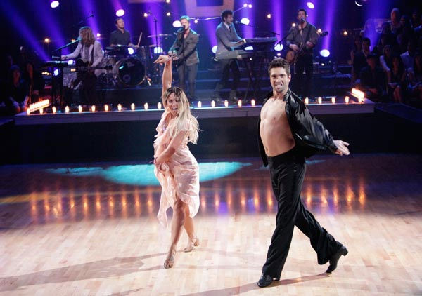 OneRepublic perform their new single &#39;Good Life&#39; on &#39;Dancing With The Stars: The Results Show,&#39; Tuesday, April 5, 2011.&#40;Pictured:LACEY SCHWIMMER, DMITRY CHAPLIN&#41; <span class=meta>(ABC Photo&#47; Adam Taylor)</span>