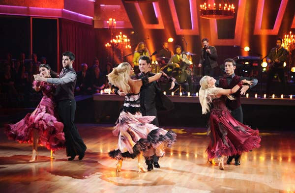 OneRepublic performed their hit 'All the Right Moves' with the 'Dancing with the Stars' Dance Troupe in the ballroom on 'Dancing With The Stars: The Results Show,' Tuesday, April 5, 2011.