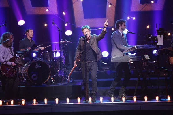 "<div class=""meta ""><span class=""caption-text "">The band OneRepublic Tweeted: 'Our hearts and prayers go out to the families, kids and teachers at the Connecticut school shooting - this insanity, this EVIL has to end.'  (Pictured: OneRepublic perform their new single 'Good Life' on ABC's 'Dancing With The Stars: The Results Show,' on April 5, 2011.)  (ABC Photo/ Adam Taylor)</span></div>"