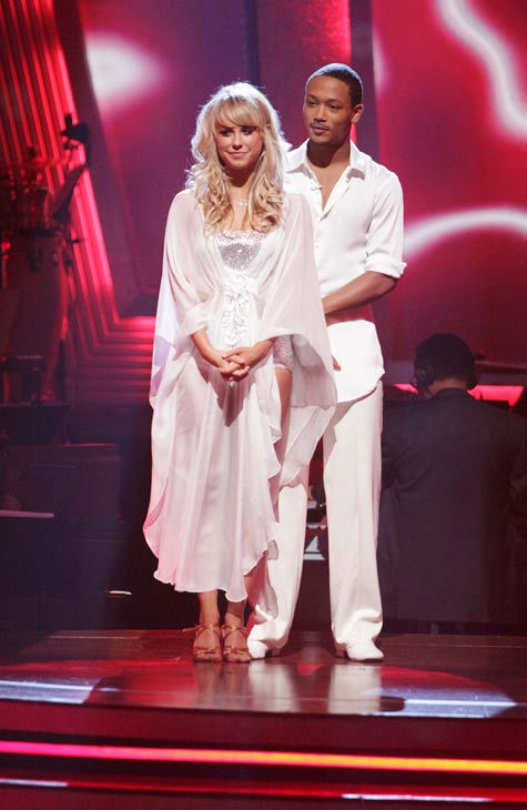 "<div class=""meta ""><span class=""caption-text "">Romeo and his partner Chelsie Hightower await possible elimination. The couple received 20 out of 30 from the judges for their Rumba on week three of 'Dancing With The Stars' on Monday, April 4, 2011.  (ABC Photo/ Adam Taylor)</span></div>"