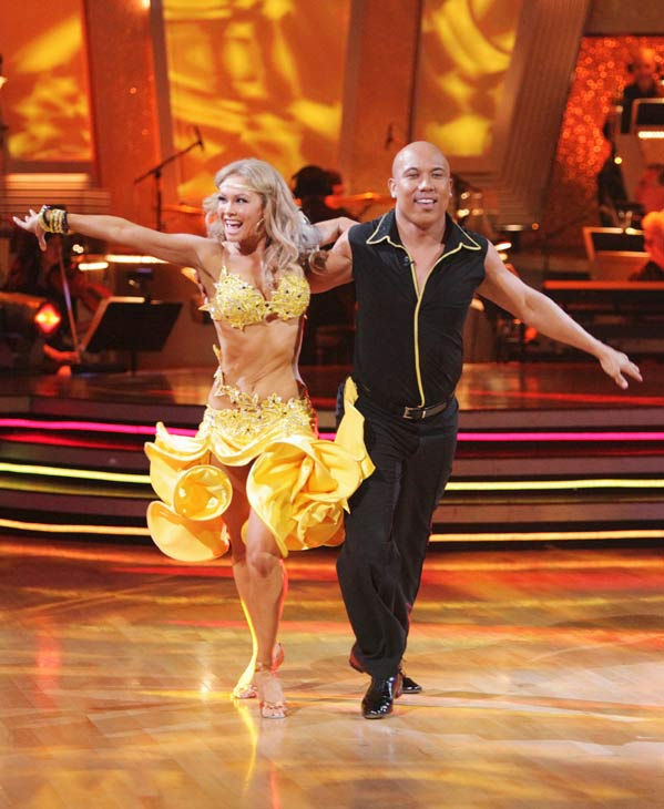 Hines Ward and his partner Kym Johnson perform an encore of their Rumba during 'Dancing With The Stars: The Results Show' on April 5, 2011. The couple received 25 out of 30 from the judges for their Rumba on Monday.