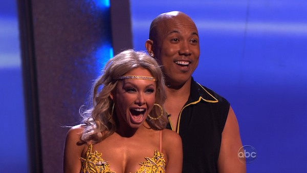 Hines Ward and his partner Kym Johnson react to being safe from elimination. The couple received 25 out of 30 from the judges for their Rumba on week three of 'Dancing With The Stars' on Monday, April 4, 2011.