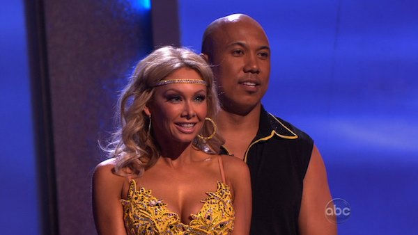 Hines Ward and his partner Kym Johnson await possible elimination. The couple received 25 out of 30 from the judges for their Rumba on week three of 'Dancing With The Stars' on Monday, April 4, 2011.