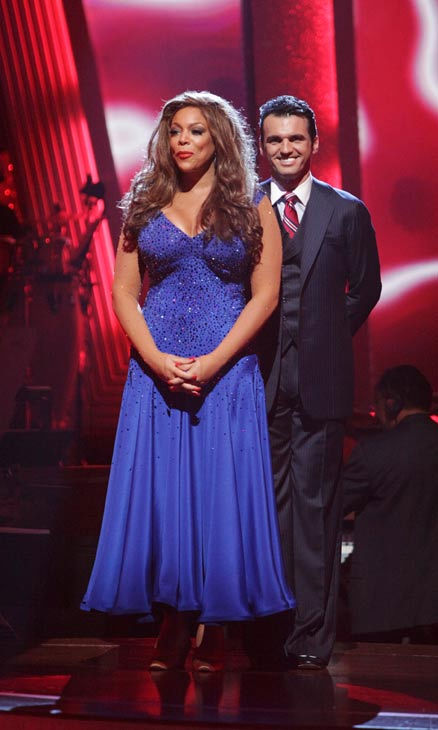 Wendy Williams and Tony Dovolani await possible elimination on 'Dancing With The Stars: The Result Show' on Tuesday, April 5, 2011.