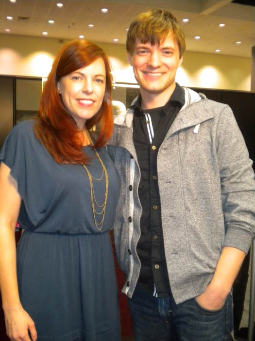 "<div class=""meta ""><span class=""caption-text "">Amy Bruni and Adam Berry from 'Ghost Hunters' stop by to chat with 'On The Red Carpet' at the Reality Rocks Expo at the Los Angeles Convention Center on April 9, 2011. (OTRC)</span></div>"
