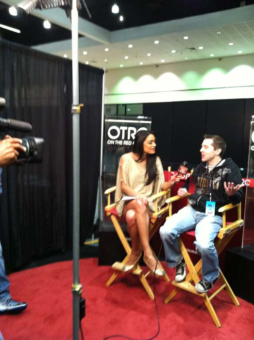 "<div class=""meta ""><span class=""caption-text "">'On The Red Carpet' host Rachel Smith interviews 'Big Brother' season 12 contestant Matt Hoffman at the Reality Rocks Expo at the Los Angeles Convention Center on April 9, 2011. (OTRC)</span></div>"