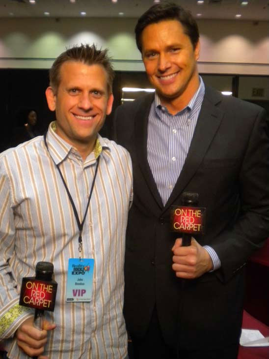 'Sports Science' host John Brenkus talks to 'On The Red Carpet' host Chris Balish at the Reality Rocks Expo at the Los Angeles Convention Center on April 10, 2011.