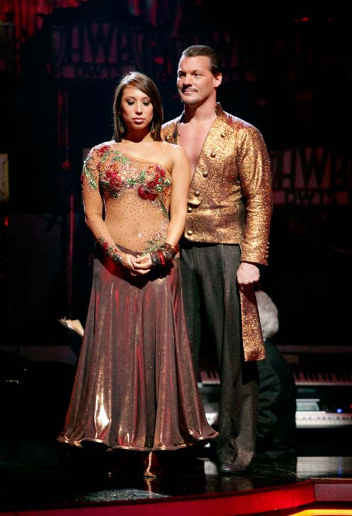 "<div class=""meta ""><span class=""caption-text "">Chris Jericho and his partner Cheryl Burke await possible elimination. The couple received 23 out of 30 from the judges for their Paso Doble on week four of 'Dancing With The Stars' on Monday, April 11, 2011.  (ABC Photo/ Adam Taylor)</span></div>"