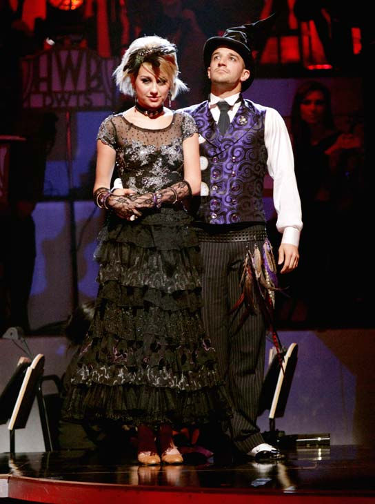 Chelsea Kane and her partner Mark Ballas await possible elimination on &#39;Dancing With The Stars: The Results Show,&#39; Tuesday, April 12, 2011. <span class=meta>(ABC Photo&#47; Adam Taylor)</span>