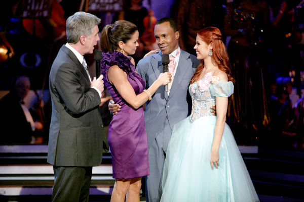 Sugar Ray Leonard and his partner Anna Trebunskaya react to being eliminated. The couple received 21 out of 30 from the judges for their Viennese Waltz on week four of &#39;Dancing With The Stars&#39; on Monday, April 11, 2011.  <span class=meta>(ABC Photo&#47; Adam Taylor)</span>