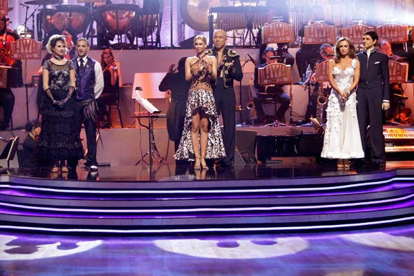 Chelsea Kane, Mark Ballas, Kym Johnson, Hines Ward, Karina Smirnoff, Ralph Macchio await possible elimination on &#39;Dancing With The Stars: The Results Show,&#39; Tuesday, April 12, 2011. <span class=meta>(ABC Photo&#47; Adam Taylor)</span>