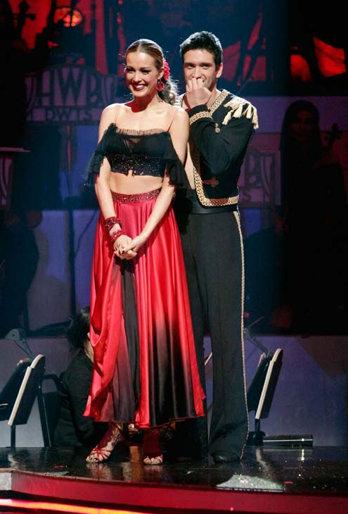 "<div class=""meta image-caption""><div class=""origin-logo origin-image ""><span></span></div><span class=""caption-text"">Petra Nemcova and her partner Dmitry Chaplin await possible elimination. The couple received 23 out of 30 from the judges for their Paso Doble on week four of 'Dancing With The Stars' on Monday, April 11, 2011.  (ABC Photo/ Adam Taylor)</span></div>"
