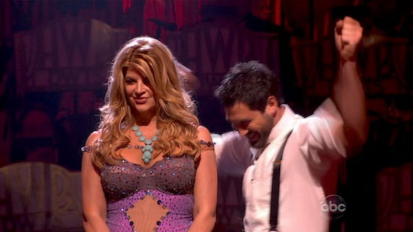 Kirstie Alley and her partner Maksim Chmerkovskiy react to being safe from elimination. The couple received 22 out of 30 from the judges for their Waltz on week four of 'Dancing With The Stars' on Monday, April 11, 2011.