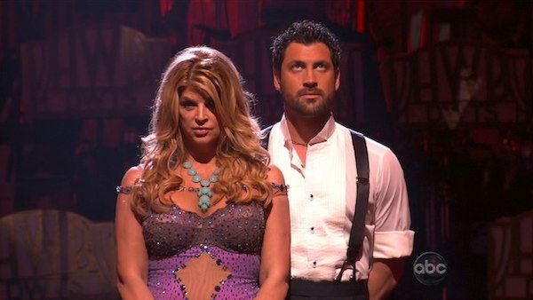 Kirstie Alley and her partner Maksim Chmerkovskiy await possible elimination. The couple received 22 out of 30 from the judges for their Waltz on week four of 'Dancing With The Stars' on Monday, April 11, 2011.