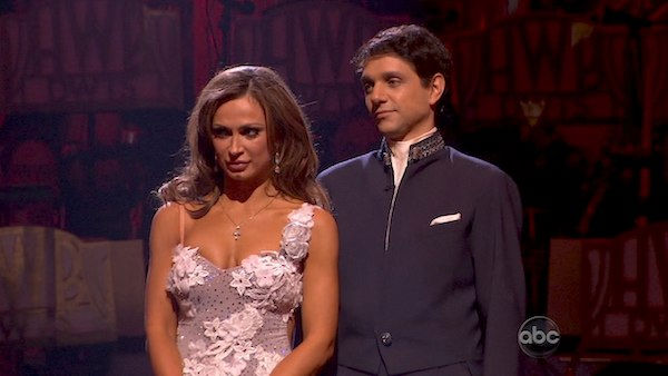 "<div class=""meta ""><span class=""caption-text "">Ralph Macchio and his partner Karina Smirnoff await possible elimination. The couple received 25 out of 30 from the judges for their Waltz on week four of 'Dancing With The Stars' on Monday, April 11, 2011.  (OTRC Photo)</span></div>"