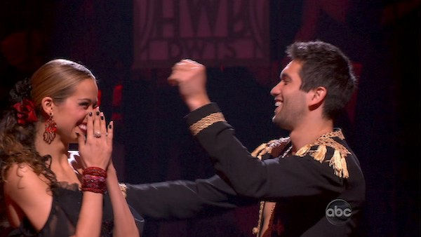 Petra Nemcova and her partner Dmitry Chaplin react to being safe from elimination. The couple received 23 out of 30 from the judges for their Paso Doble on week four of &#39;Dancing With The Stars&#39; on Monday, April 11, 2011. <span class=meta>(OTRC Photo)</span>