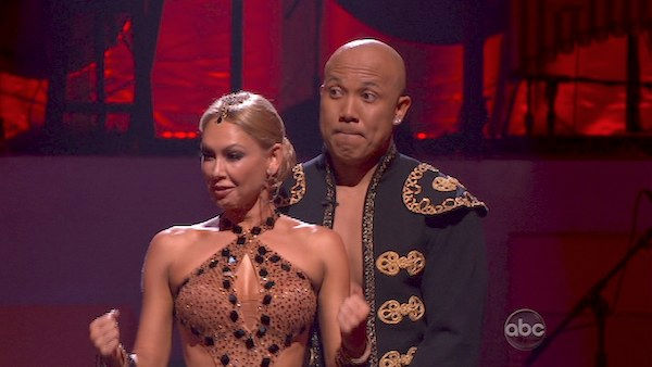 Hines Ward and his partner Kym Johnson react to being safe from elimination. The couple received 25 out of 30 from the judges for their Paso Doble on week four of 'Dancing With The Stars' on Monday, April 11, 2011.