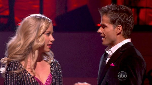 Kendra Wilkinson and her partner Louis van Amstel react to being safe from elimination. The couple received 18 out of 30 from the judges for their Viennese Waltz on week four of 'Dancing With The Stars' on Monday, April 11, 2011.