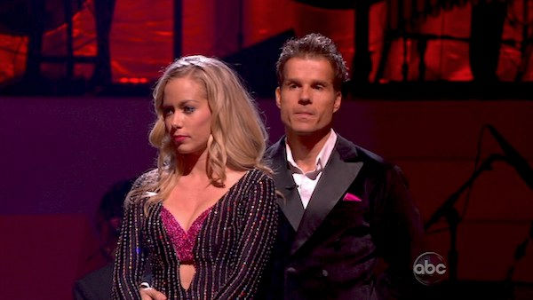 "<div class=""meta ""><span class=""caption-text "">Kendra Wilkinson and her partner Louis van Amstel await possible elimination. The couple received 18 out of 30 from the judges for their Viennese Waltz on week four of 'Dancing With The Stars' on Monday, April 11, 2011.  (OTRC Photo)</span></div>"