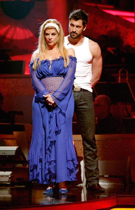 Kirstie Alley and her partner Maksim Chmerkovskiy await possible elimination. The couple received 23 out of 30 from the judges for their Fox Trot on week five of &#39;Dancing With The Stars&#39; on Monday, April 18, 2011.  <span class=meta>(ABC Photo&#47; Adam Taylor)</span>