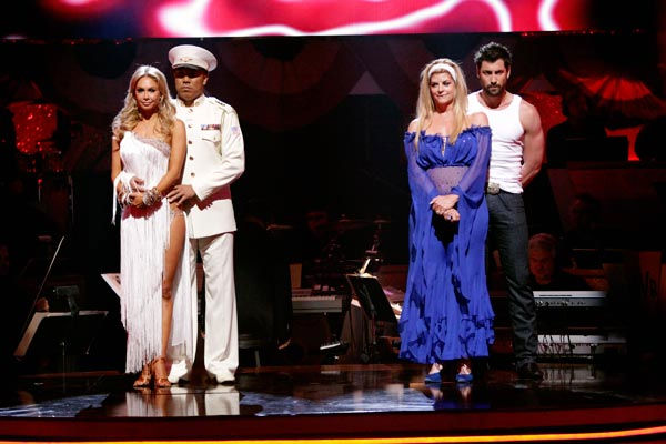 "<div class=""meta ""><span class=""caption-text "">Hines Ward, Kym Johnson, Kirstie Alley and her partner Maksim Chmerkovskiy await possible elimination on 'Dancing With The Stars: The Result Show' on Tuesday, April 19, 2011.  (ABC Photo/ Adam Taylor)</span></div>"