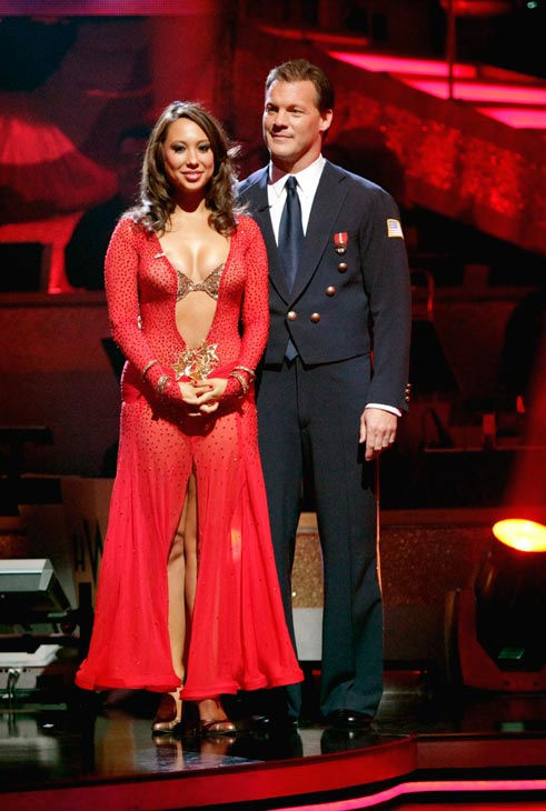 Chris Jericho and Cheryl Burke await possible elimination on 'Dancing With The Stars: The Result Show' on Tuesday, April 19, 2011.