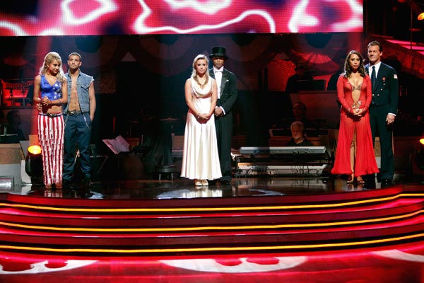 A fourth couple was be eliminated from the competition, on 'Dancing with the Stars the Results Show,' on April 19, 2011. (Pictured: CHELSEA KANE, MARK BALLAS, CHELSIE HIGHTOWER, ROMEO, CHERYL BURKE and CHRIS JERICHO.)