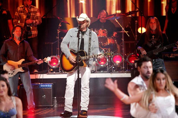 Special musical guest country star Toby Keith performed two of his biggest hits including 'Should've Been a Cowboy' and was accompanied by Maksim Chmerkovskiy, Lacey Schwimmer and the 'Dancing with the Stars' Dance Troupe.