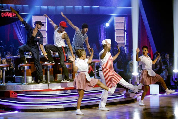 "<div class=""meta ""><span class=""caption-text "">This week's 'Macy's Stars of Dance' also performed for America Week with a powerful number choreographed and starring Jamal Sims ('Footloose,' 'Rock of Ages'). (ABC Photo/ Adam Taylor)</span></div>"