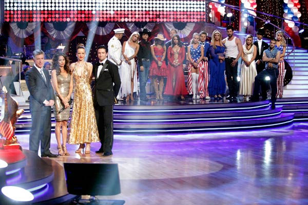 Petra Nemcova and her partner Dmitry Chaplin react to being eliminated. The pair received 22 out of 30 from the judges for their Quickstep on week five of 'Dancing With The Stars' on Monday, April 18, 2011.