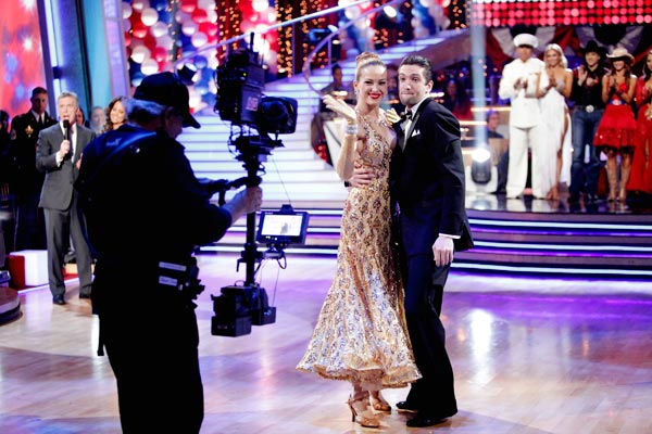 Petra Nemcova and her partner Dmitry Chaplin react to being eliminated. The pair received 22 out of 30 from the judges for their Quickstep on week five of &#39;Dancing With The Stars&#39; on Monday, April 18, 2011.  <span class=meta>(ABC Photo&#47; Adam Taylor)</span>