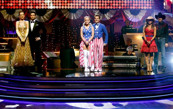 A fourth couple was be eliminated from the competition, on 'Dancing with the Stars the Results Show,' on April 19, 2011. (Pictured: PETRA NEMCOVA, DMITRY CHAPLIN, KENDRA WILKINSON, LOUIS VAN AMSTEL, KARINA SMIRNOFF and RALPH MACCHIO)