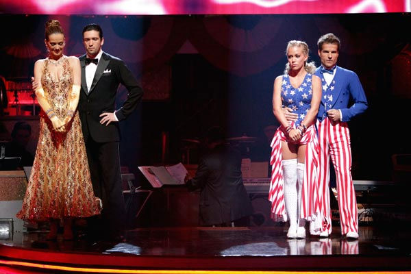 "<div class=""meta ""><span class=""caption-text "">Petra Nemcova, Dmitry Chaplin, Kendra Wilkinson and her partner Louis van Amstel await possible elimination on 'Dancing With The Stars: The Result Show' on Tuesday, April 19, 2011.  (ABC Photo/ Adam Taylor)</span></div>"