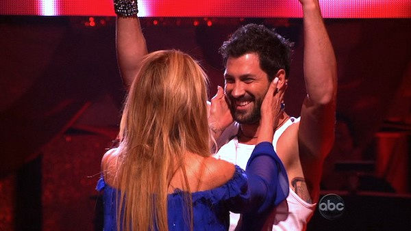 "<div class=""meta ""><span class=""caption-text "">Kirstie Alley and her partner Maksim Chmerkovskiy react to being safe from elimination. The couple received 23 out of 30 from the judges for their Fox Trot on week five of 'Dancing With The Stars' on Monday, April 18, 2011.  (OTRC Photo)</span></div>"