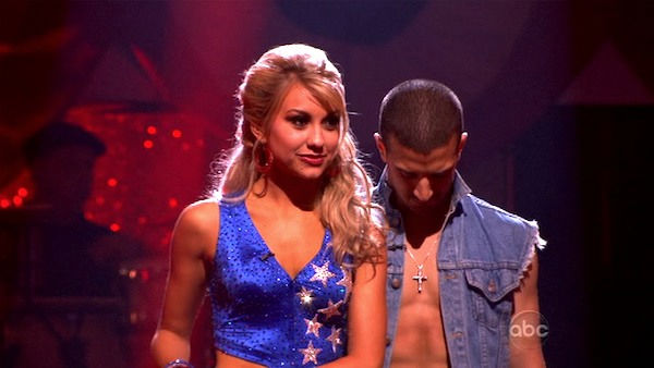 Chelsea Kane and her partner Mark Ballas await possible elimination. The couple 26 out of 30 from the judges for their Samba on week five of 'Dancing With The Stars' on Monday, April 18, 2011.