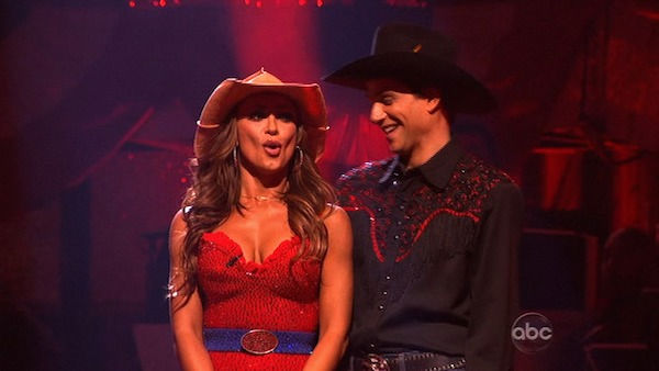 Ralph Macchio and his partner Karina Smirnoff react to being safe from elimination. The couple 22 out of 30 from the judges for their Samba on week five of 'Dancing With The Stars' on Monday, April 18, 2011.