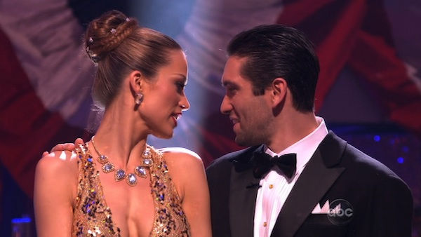 Petra Nemcova and her partner Dmitry Chaplin react to being eliminated. The pair received 22 out of 30 from the judges for their Quickstep on week five of &#39;Dancing With The Stars&#39; on Monday, April 18, 2011.  <span class=meta>(OTRC Photo)</span>