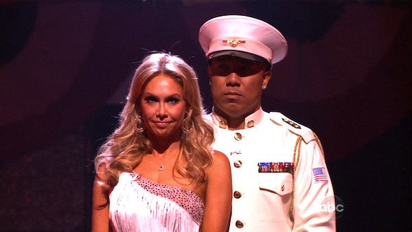 "<div class=""meta image-caption""><div class=""origin-logo origin-image ""><span></span></div><span class=""caption-text"">Hines Ward and his partner Kym Johnson await possible elimination. The couple received 27 out of 30 from the judges for their Rumba on week five of 'Dancing With The Stars' on Monday, April 18, 2011.  (OTRC Photo)</span></div>"