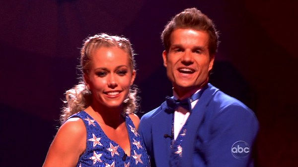 Kendra Wilkinson and her partner Louis van Amstel react to being safe from elimination. The couple received 22 out of 30 from the judges for their Fox Trot on week five 'Dancing With The Stars' on Monday, April 18, 2011.