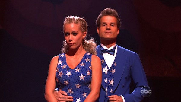 "<div class=""meta ""><span class=""caption-text "">Kendra Wilkinson and her partner Louis van Amstel await possible elimination. The couple received 22 out of 30 from the judges for their Fox Trot on week five of 'Dancing With The Stars' on Monday, April 18, 2011.  (OTRC Photo)</span></div>"
