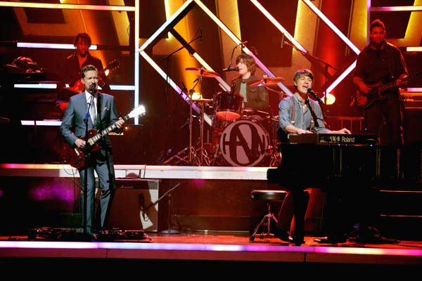 The band Hanson performed 'MmmBop' during 'Guilty Pleasures' night on 'Dancing With The Stars' on April 25, 2011.