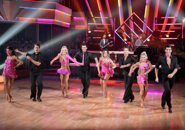 The band Hanson performed 'MmmBop' during 'Guilty Pleasures' night on 'Dancing With The Stars' on April 25, 2011. (Pictured: PETA MURGATROYD, TRISTAN MACMANUS, TED VOLYNETS, NICOLE VOLYNETS, TONY DOVOLANI, LACEY SCHWIMMER, KIKI NYEMCHEK and OKSANA DMYTREN