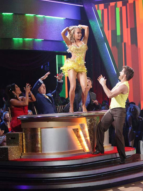 Kendra Wilkinson and her partner Louis van Amstel received 25 out of 30 from the judges for their Samba on week six of &#39;Dancing With The Stars.&#39; <span class=meta>(ABC Photo&#47; Adam Taylor)</span>