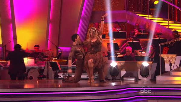 "<div class=""meta ""><span class=""caption-text "">Kirstie Alley and her partner Maksim Chmerkovskiy dance Samba on week six of 'Dancing With The Stars.' The couple received a 26 out of 30 from the judges. (OTRC Photo)</span></div>"