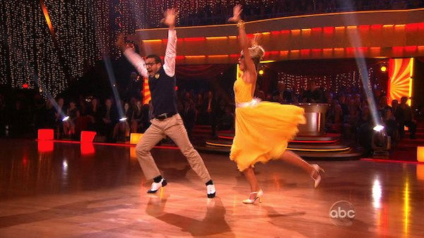 "<div class=""meta ""><span class=""caption-text "">Chelsea Kane and her partner Mark Ballas received 28 out of 30 from the judges for their Quickstep on week six of 'Dancing With The Stars.' (OTRC Photo)</span></div>"