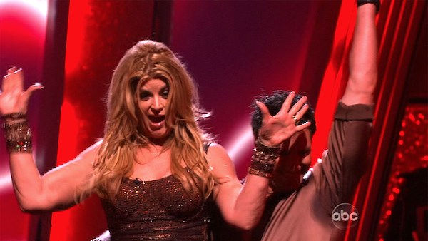 Kirstie Alley and her partner Maksim Chmerkovskiy react to being safe from elimination. The couple received a 26 out of 30 from the judges for their Samba on week six of 'Dancing With The Stars' on Monday, April 25, 2011.